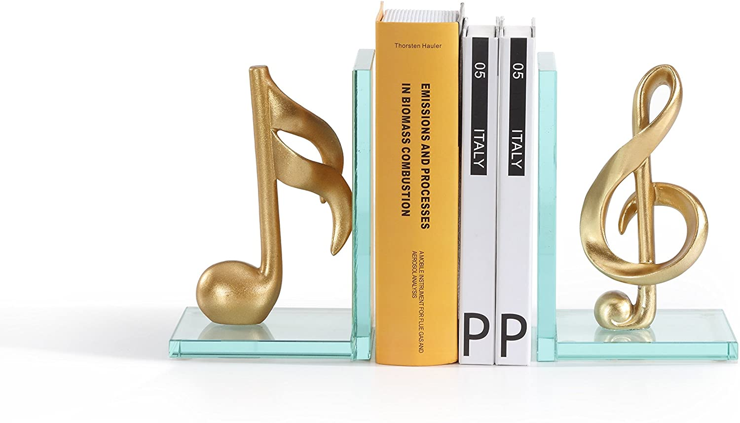 Musical Notes Glass Bookends
