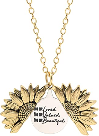 Engraved Sunflower Necklace