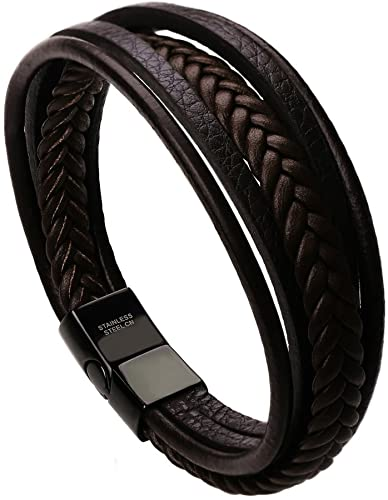 Mens Leather Bracelet with Magnetic Clasp