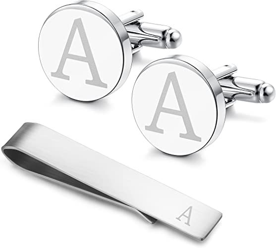 Stainless Steel Engraved Initial Cufflinks