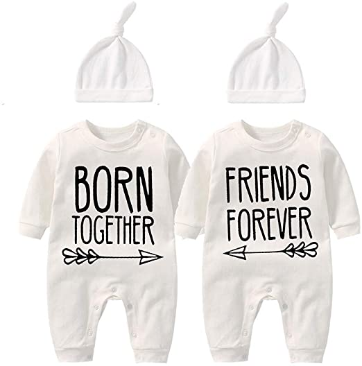 Twins Bodysuit with hat Born Together